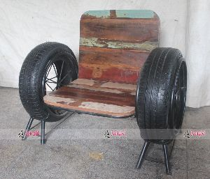 INDUSTRIAL IRON WHEEL SOFA