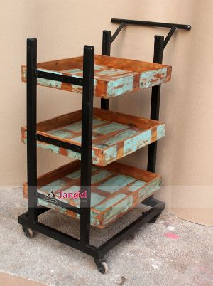 IRON RECLAIMED WOOD TROLLEY