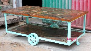 RECLAIMED WOOD CART TABLE