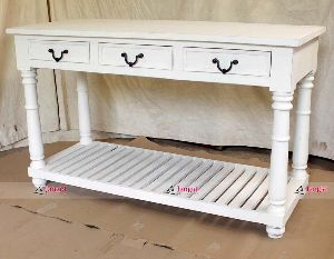 WHITE COLONIAL CONSOLE TABLE