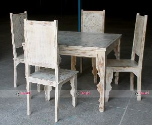 WHITE WASH DINING TABLE SET