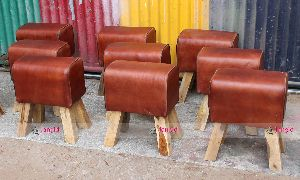 WOODEN LEATHER POUF STOOL