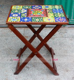 WOODEN PAINTED PEG TABLE