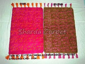 Cotton Chenille Embroidery Dhurries
