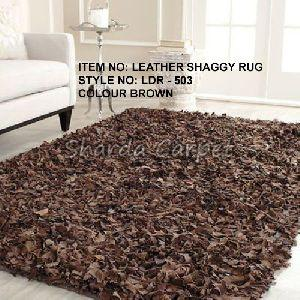 Leather Shaggy Rugs 01