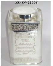 Brass Silver Finish Tea Leaves Container