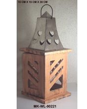 Metal Top Wood Lantern