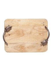 Natural Wood Serving Tray With Crocodile Handle