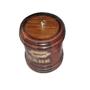 Round Small Wooden Money Bank