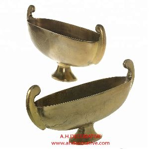 Aluminum Gold Boat Flower Bowl