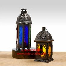 Color Glass Iron Lantern
