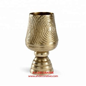 Gold Embossed Metal Flower Vase