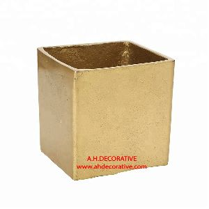 Gold Square Metal Vase