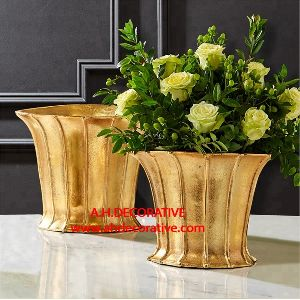 Metal Gold Flower Bucket