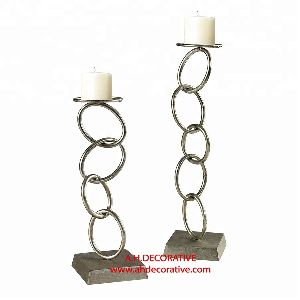 Metal Ring Pillar Candle Holder