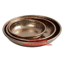 Shiny Hammered Copper Tray