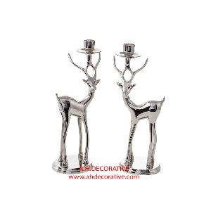 Silver Metal Deer Candle Holder