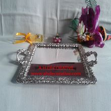 Square Silver Serving Tray With Handle