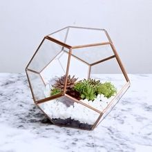 colored Metal vases geometric glass terrarium