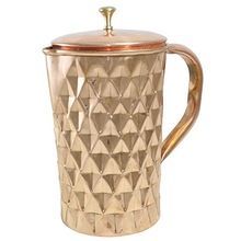 Copper Diamond Cut Tableware Water Pitcher Jug