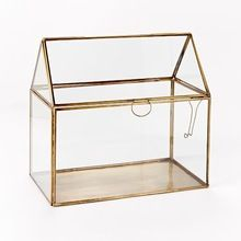 Copper metal frame hanging geometric glass terrarium