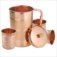 Copper Water Pitcher Jug Set