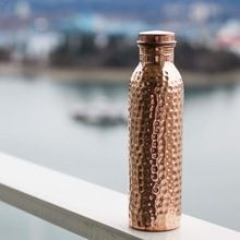 Handmade Water Copper Bottle With Printed Mug
