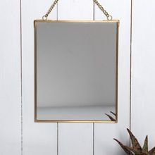 Hanging Mirror in gold metal frame