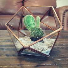 metal rose gold copper glass terrarium