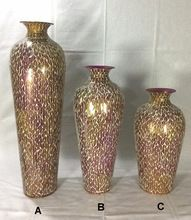 Mosaic Finished Metal Flower Vase