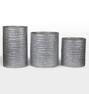 Natural Finished Metal Galvanized Cylinder Planters