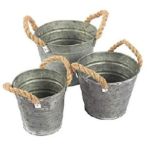Vintage Galvanized Planter Buckets
