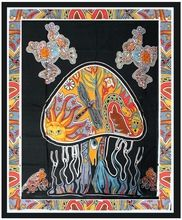 Indian Psychedelic Mushroom Tapestry