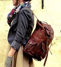 Leather Retro Rucksack Backpack College Bag