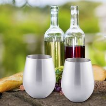 Steel Stemless Double Wall Wine Glass