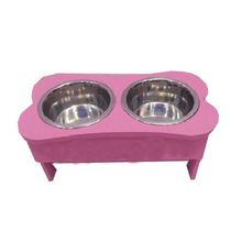 Wooded Double Pet Bowl Set