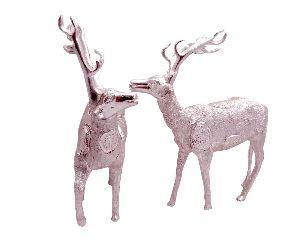 White Metal Deer Figure