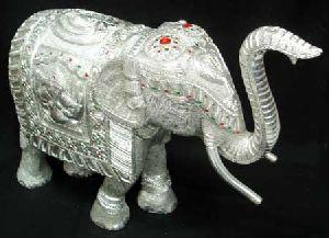 White Metal Elephant Figure
