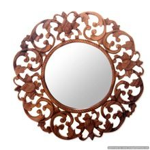 wooden antique wall mirror