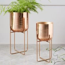 Decorative Gold Planter and Stand