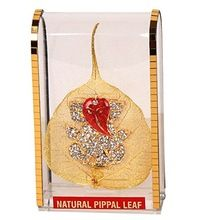 Gold Plated Peepal Pipal Leaf for Car Dashboard