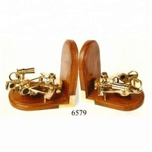 Wooden Brass Nautical Sextant Bookend
