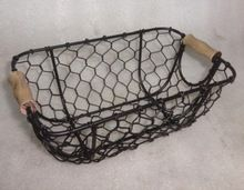 wood handle Metal Wire Mesh Basket