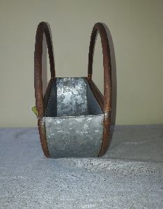 galvanized and metal round caddy