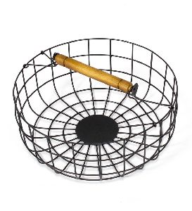 Round Hanging Basket with Wooden Handle