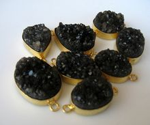 Black Color Sugar Agate Bezel Setting Loop 22 Ct Gold Plated Connectors