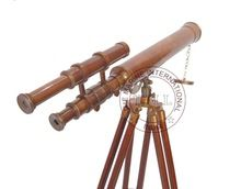 BROWN ANTIQUE BRASS TELESCOPE