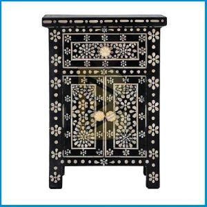 Bone Inlay Butterfly Design Black Bedside Tables