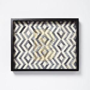 Bone Inlay Chevron Design Black and White Tray