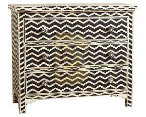 Bone Inlay Chevron Design Black Chest of Three Drawers
